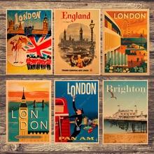 Viaje a Londres Inglaterra lienzo pintura cuadros de pared vintage Kraft carteles recubierto pegatinas de pared decoración del hogar regalo