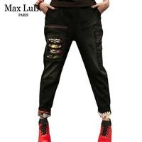 Max LuLu Luxury Brand Elastic Womens Punk Ripped Jeans Black Embroidery Ladies Skinny Casual Vintage Denim Harem Pants Plus Size