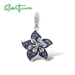SANTUZZA gümüş kolye kadınlar için 925 ayar gümüş büyüleyici mavi yıldız çiçek moda moda hediye подвеска кулон güzel takı