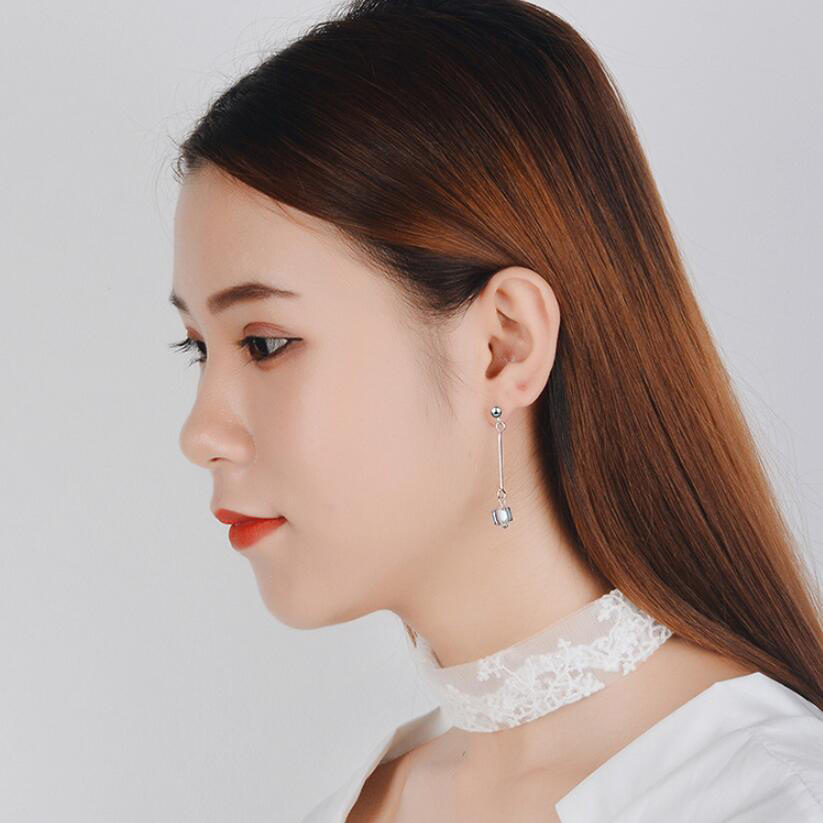 Купить с кэшбэком Long Style Artificial Crystal Drop Earrings Square Star Long Style Earrings for Women Small Fresh Short Style Earrings Pendant