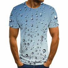 Camisa com estampado 3dt para homem, camisa de manga curta com cuello redondo