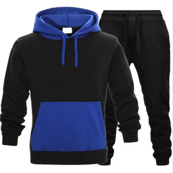 Brand Fashion Tracksuit Warm and Velvet Men Sport Patchwork Set Hoodie Sweatshirt GYMS Fitness Pants Workout Running Suit velvet cropped hoodie and pants twinset