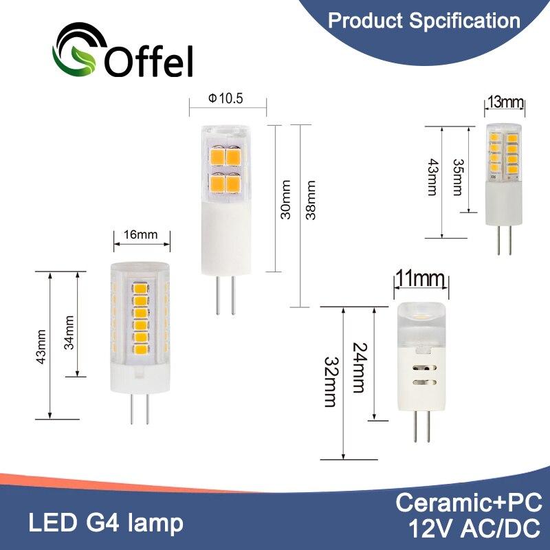 10 sztuk ceramiczne ściemniania LED G4 światła Led lampa G4 DC AC 12V żarówka LED G4 1.1W 1.5W 2.5W 3W podstawa bi-pin Spot 2385 lampa SMD