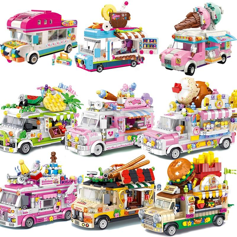 Еда мороженое машина Кемпер конфеты друзья комплекты мини-блок Наборы Модель Кирпичи игрушки для детей книга город девчонки парк развлечен...