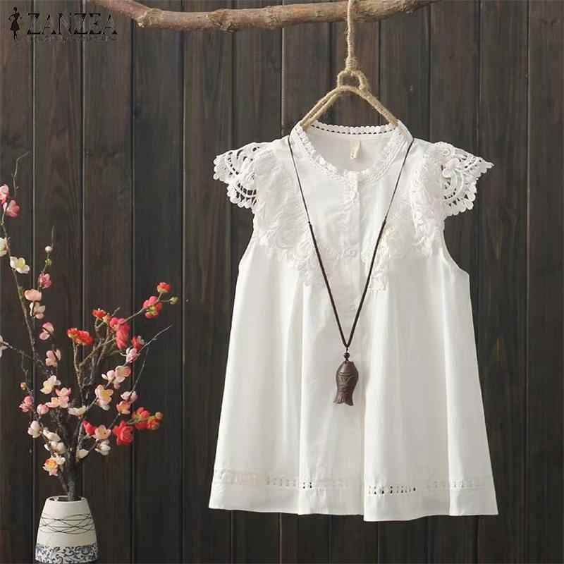 Artı boyutu tunik kadın yazlık gömlek ZANZEA zarif dantel Patchwork üstleri rahat kolsuz biti kadın rahat Patchwork Blusas