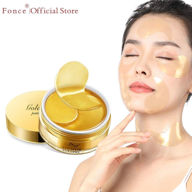 Fonce 24K altın kristal kollajen jel göz yamaları maskesi yaşlanmayan uyku maskesi sökücü kırışıklık karşıtı yaş çantası göz tedavisi koyu halkalar