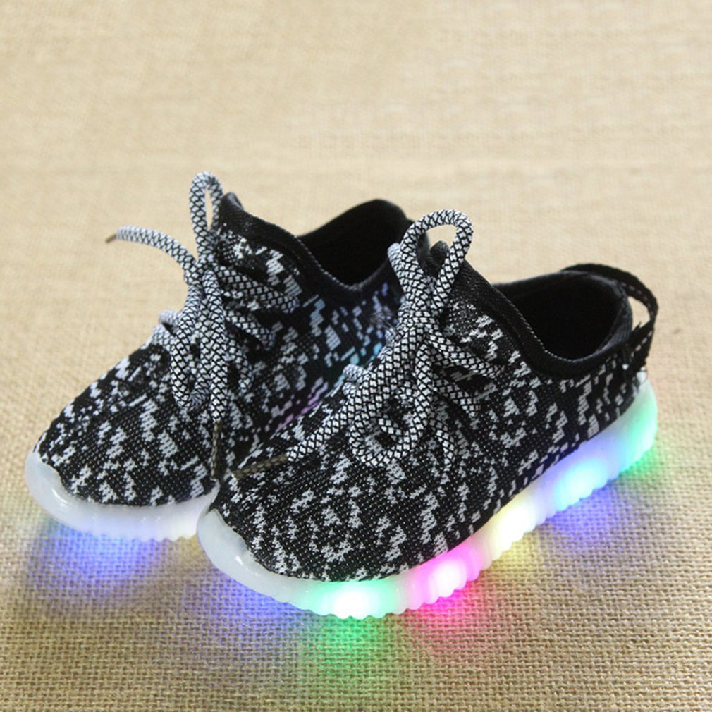 Korean Style Fashion Luminous Sneakers Casual Children Shoes Anti-skid LED Light Up Knitting Shoes For Girls Boys