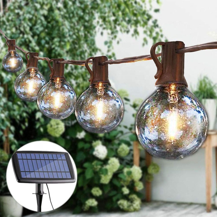 Binval G40 Solar Globe Bulb String Light Clear 10/15/25LED Bulbs Hanging Umbrella Indoor Outdoor Decor for Patio Garden Backyard