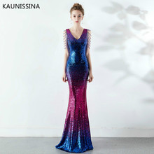 KAUNISSINA Long Evening Dress Vintage Sequin Gradient Crystal Mermaid Dresses Sexy Slim Party Panquet Prom Formal Robe