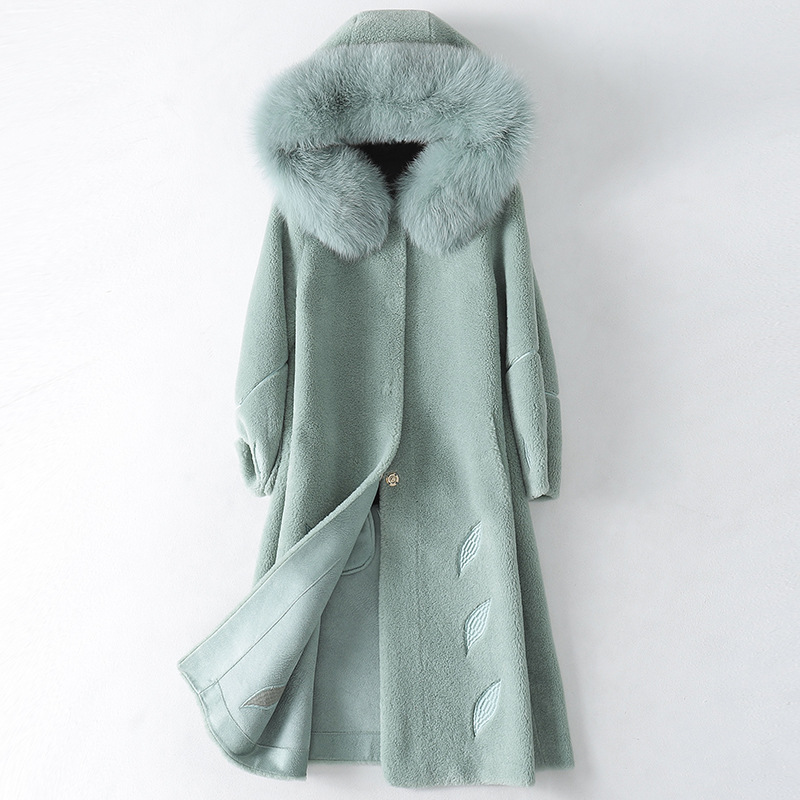 Winter Solid Fashion Warm Thick Wool Hooded Coat Fox Hair Collar High Quality Simple with Pockets Long Genuine Leather Coat