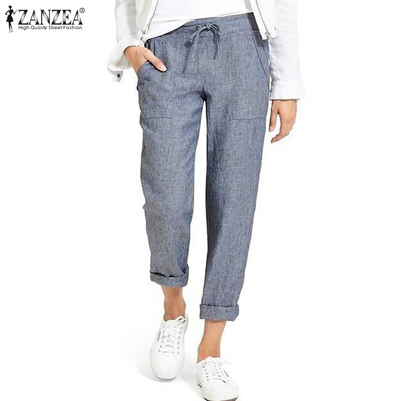 Summer Drawstring Cargo Pants Women's Autumn Trousers 2019 ZANZEA Vintage Elastic Waist Pantalon Woman Palazzo Oversized Pant