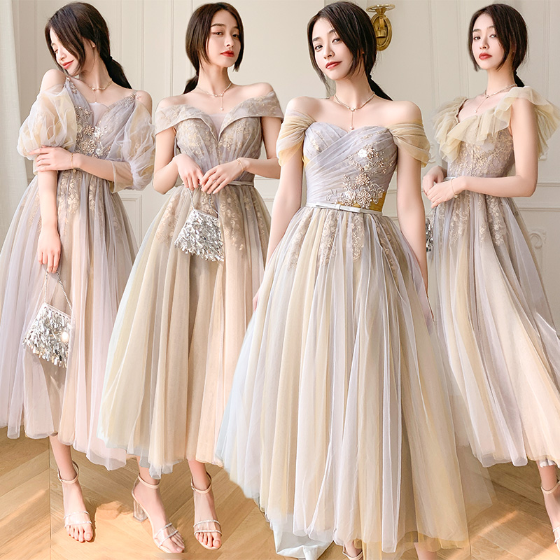 Bridesmaids Dress Illusion Strapless Sequined Embroidery Ankle-Length Lace Tulle Off The Shoulder Women Wedding Party Gown E192