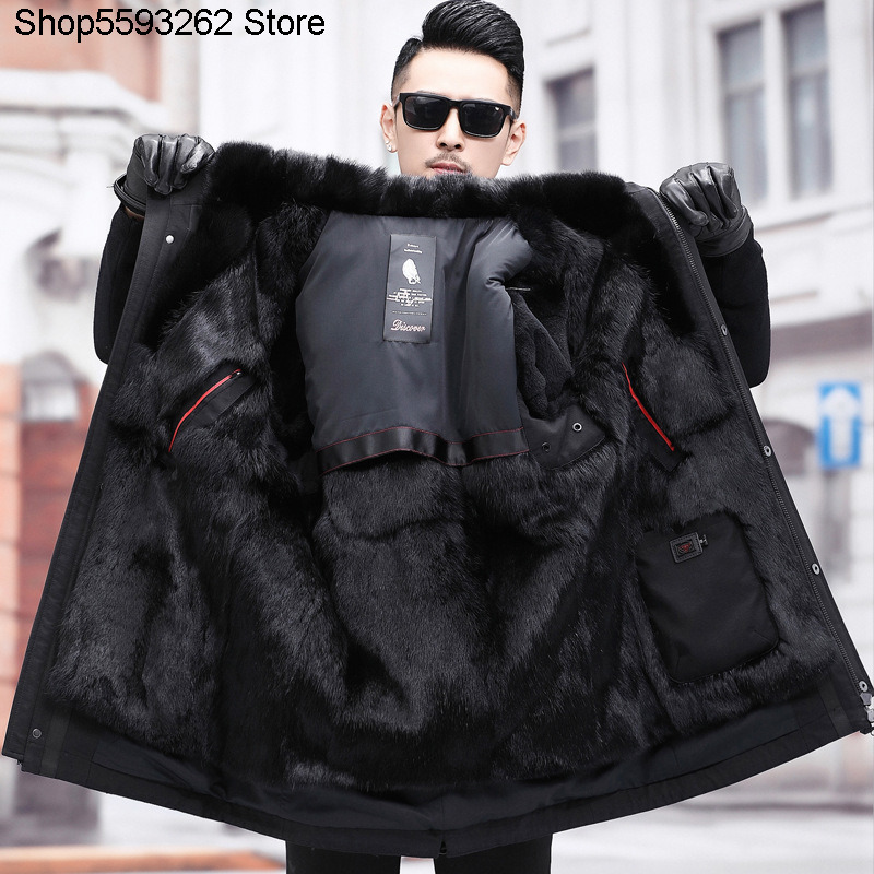 Haining Pai Overcome Male Mink Lian Cap Medium Length Forest Mink Mink Skin Liner Fur One Piece Fur Men's Wear Coat