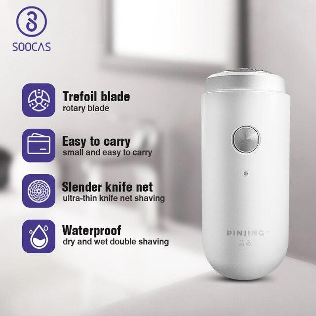 SOOCAS Pinjing Mini tıraş makinesi taşınabilir erkekler elektrikli USB şarj edilebilir Mini tıraş makinesi sakal düzeltici tıraş makinesi seyahat için