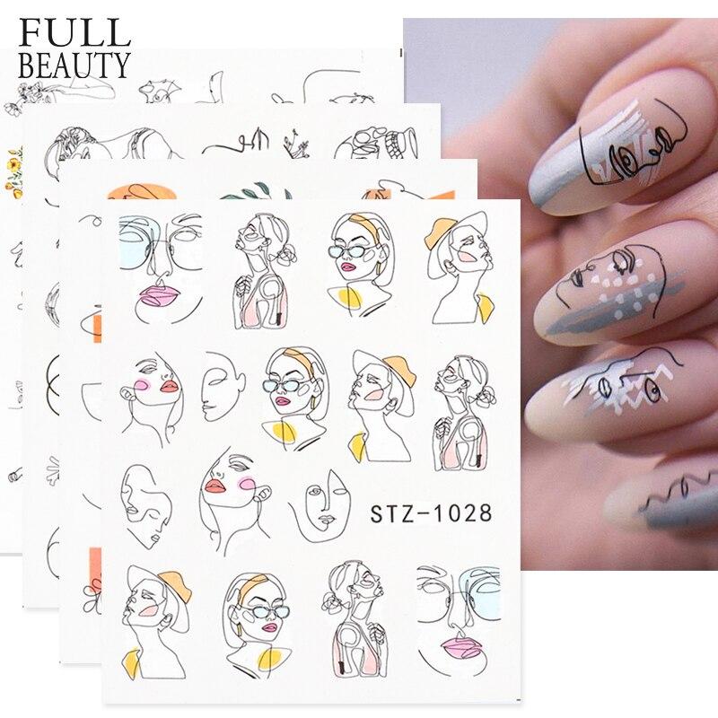 Soyut bayan yüz tırnak çıkartmaları su siyah yaprak kaydırıcılar kağıt tırnak sanat dekoru jel lehçe Sticker manikür folyo CHSTZ1018-1033