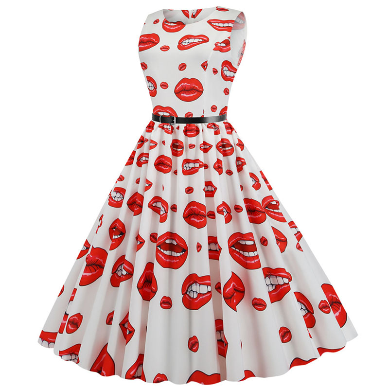 Women Summer Dress Floral Party Dresses Vestidos Casual Plus Size Robe Femme Print Vintage Sleeveless O-neck Elegant Flamingo