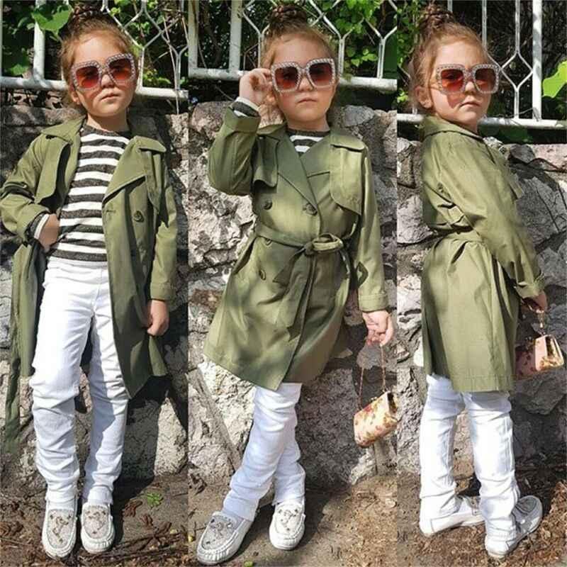 2019 ファッションキッズベビー女児風ジャケットトレンチコートウインドブレーカーロングパーカーオーバー生き抜く