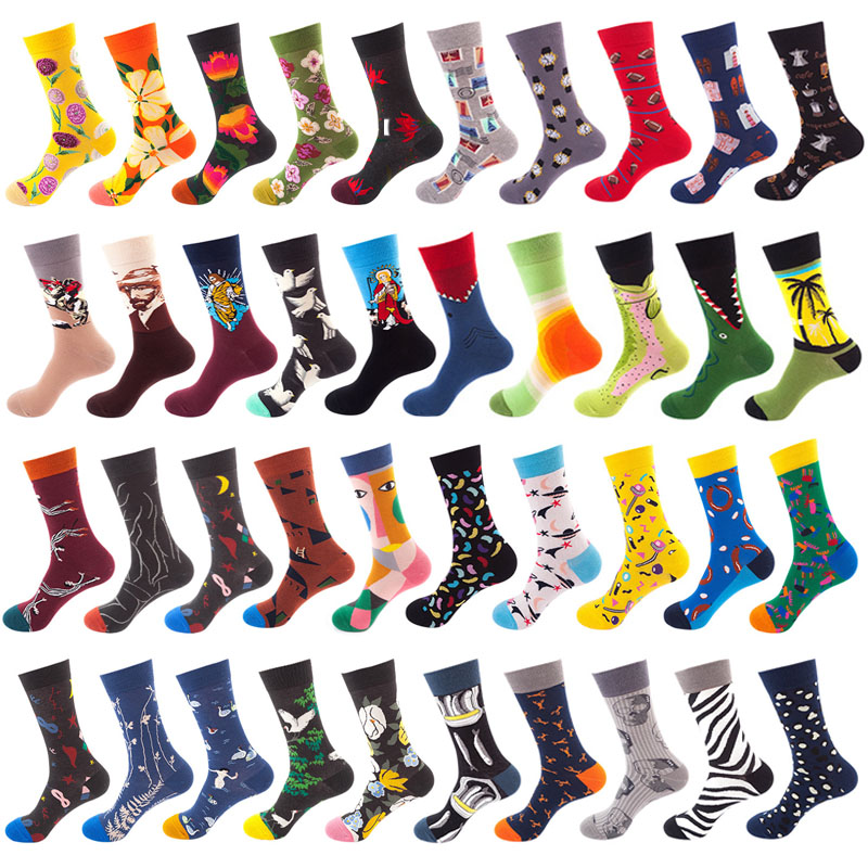 Men's socks cotton socks casual personality novelty design hip hop colorful street socks brand quality men's happy gifts