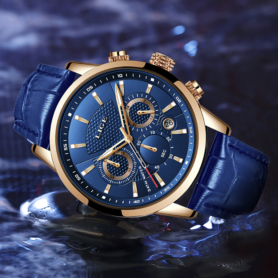 H78cae44de1854c3aa321338997c72ed5m LIGE New Men Watch Top Brand Blue Leather Chronograph Waterproof Sport Automatic Date Quartz Watches For Mens Relogio Masculino