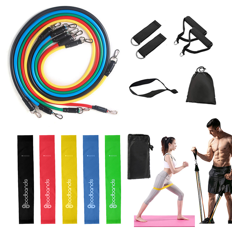 17 Pcs Resistance Bands Set Latex Fitness Bands Rubber Loop Tube Bands Muscle Training Workout Fitness Equipment image