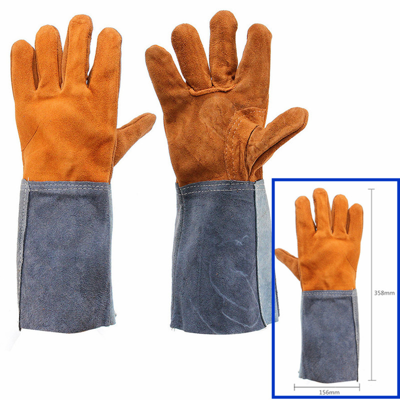 1Pair Working Safety Gloves Soft Welding Cowhide Leather Plus Protecting Gloves Heat Shield Cover Guard Safe Protecting