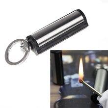 Лидер продаж! Водонепроницаемая металлическая Перманентная зажигалка для кемпинга с брелоком для выживания, серебро