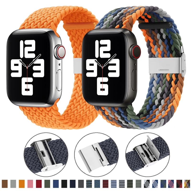 Нейлоновый тканевый ремешок для наручных часов Apple Watch серии 6 SE 5 4 3 38 мм 40 мм 42 44 мм регулируемый плетеный соло петля эластичные ремешок для н...