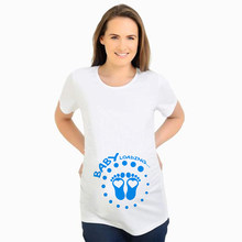 Baby Loading Footprint Funny Pregnancy T-shirts Tops Hot Sale Maternity Clothes Pregnant Women Summer Plus Size Clothing(China)