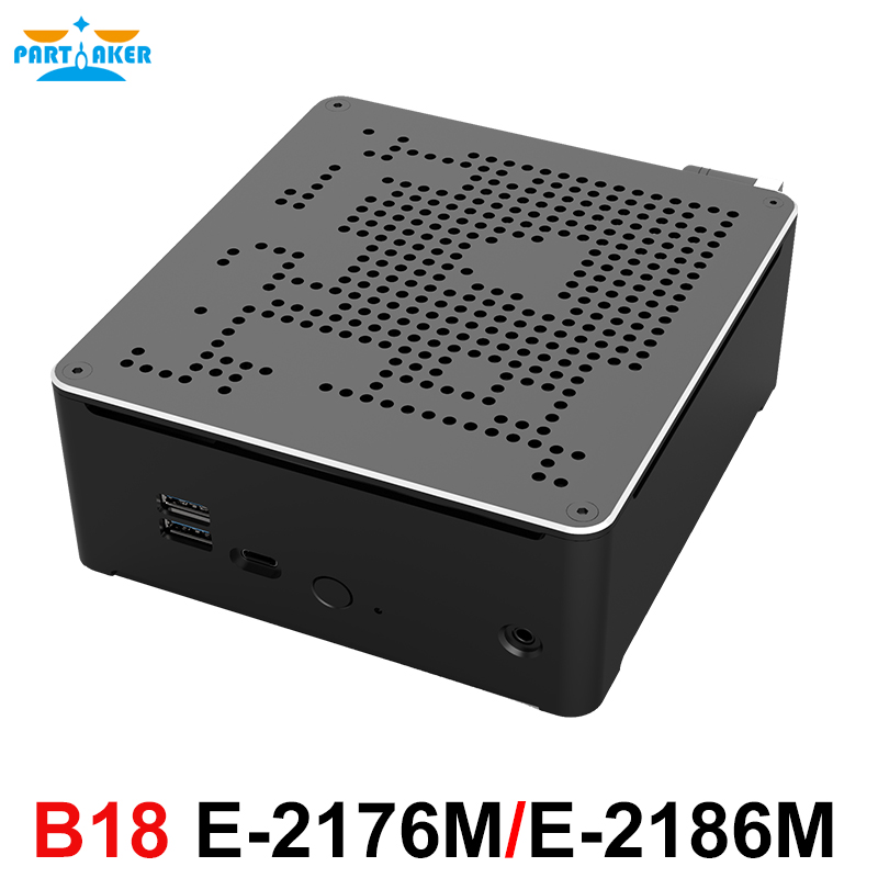 Partaker B18 Intel Xeon E-2176M E-2186M Desktop 6 Core 12 Thread Fan Mini PC Windows 10 Pro HDMI Mini DP WiFi BT Gaming Computer