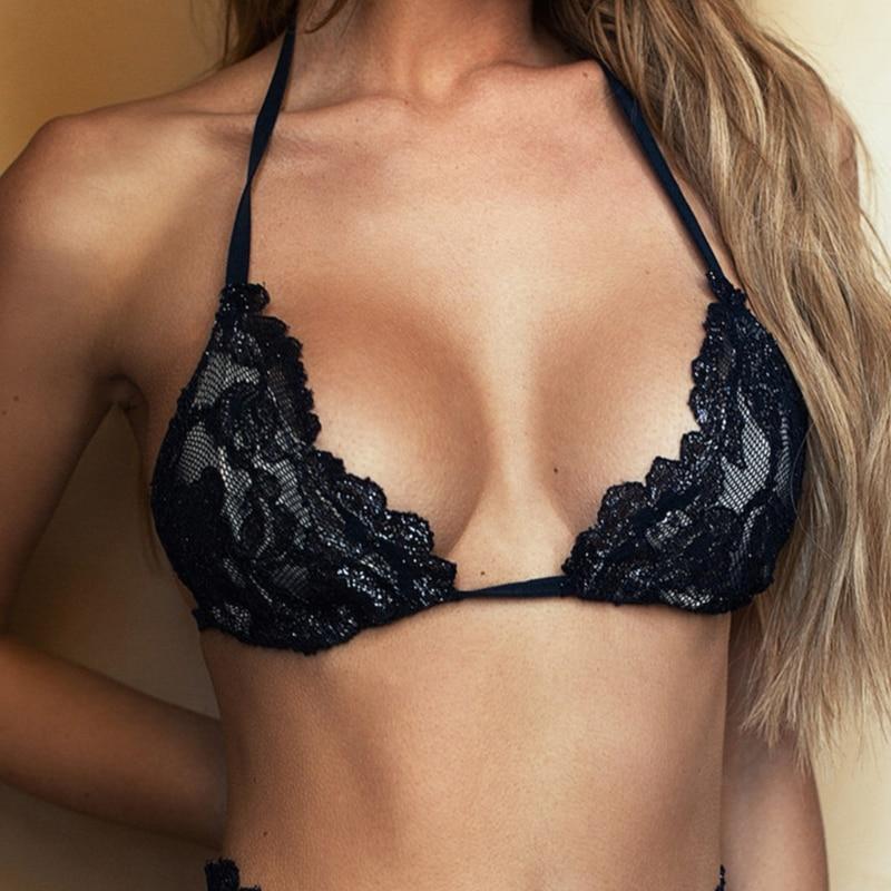 Sexy Hollow-out Lace Bra + Panties Women Black Sleepwear Underwear Lingerie