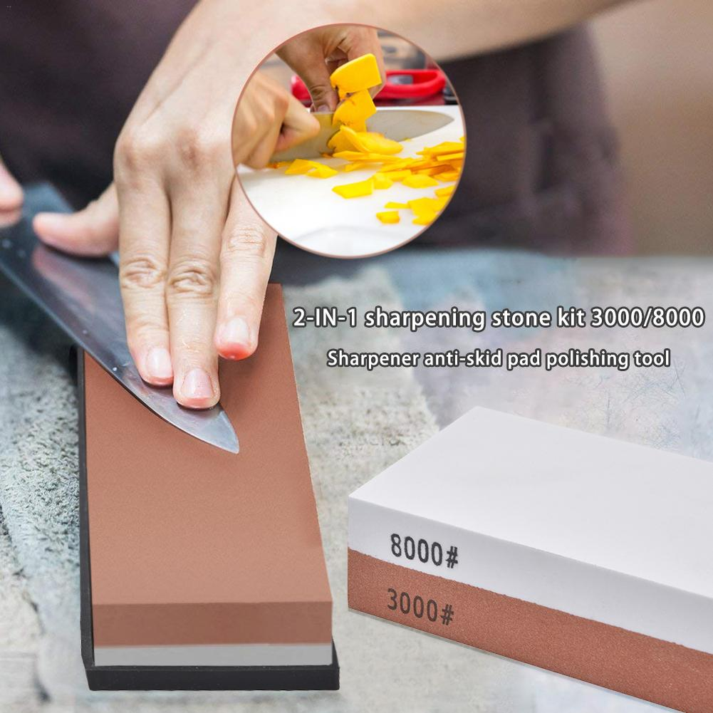 2 In 1 Sharpening Stone Kit 3000/8000 Grit Knife Red White Sharpener Anti-slip Mat Polishing Tool For Kitchen Hunting Knives