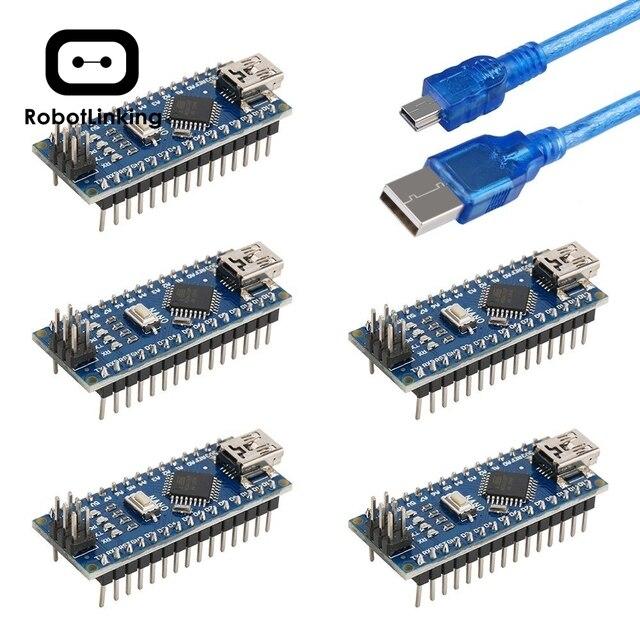 Arduino Nano V3.0, 나노 보드 ATmega328P 5V 16M 마이크로 컨트롤러 보드 (USB 케이블 포함) (나노 x 5 + 케이블)