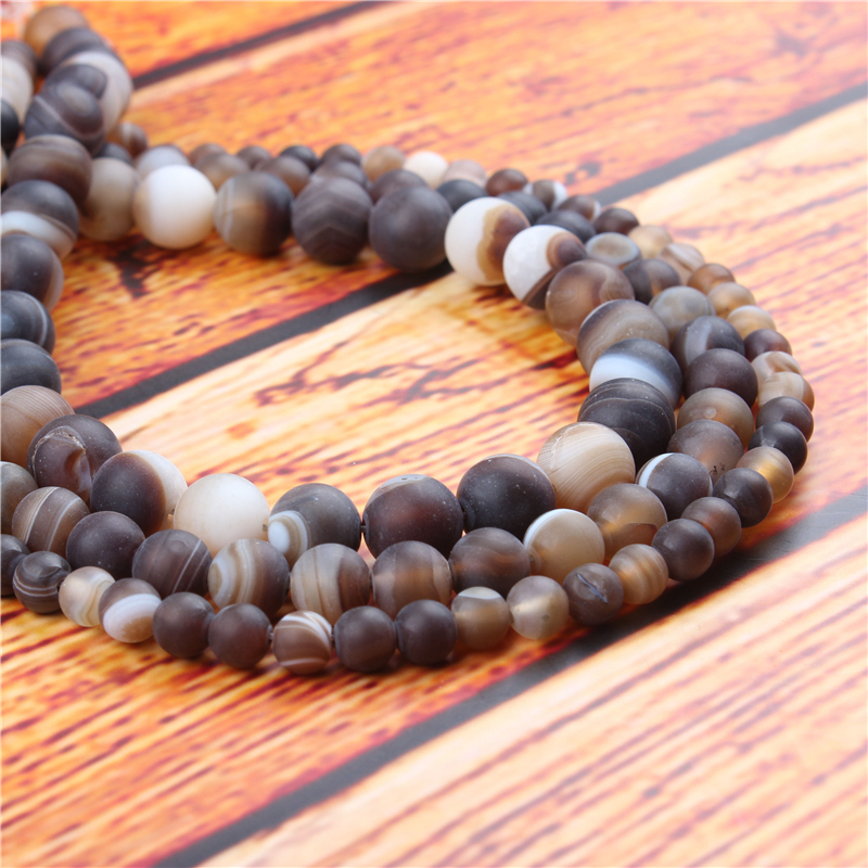 Coffee Agate Natural Stone Bead Round Loose Spaced Beads 15 Inch Strand 6/8/10/12mm For Jewelry Making DIY Bracelet