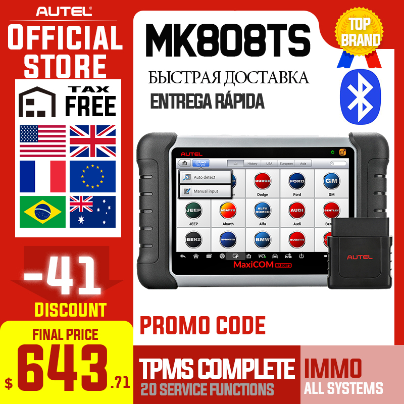 Autel MaxiCOM MK808TS OBD2 Bluetooth Scanner Automotivo Car Diagnostic Scan Tool OBD 2 Programing TPMS Sensor PK MK808 MP808TS|diagnostic scanner|automotive diagnosticscanner diagnostic - AliExpress