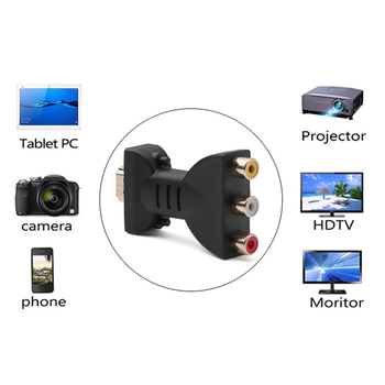 HD to RCA Video Adapter TV DVD Projector 720P 1080P HD to AV Digital Video Audio Signal Converter image
