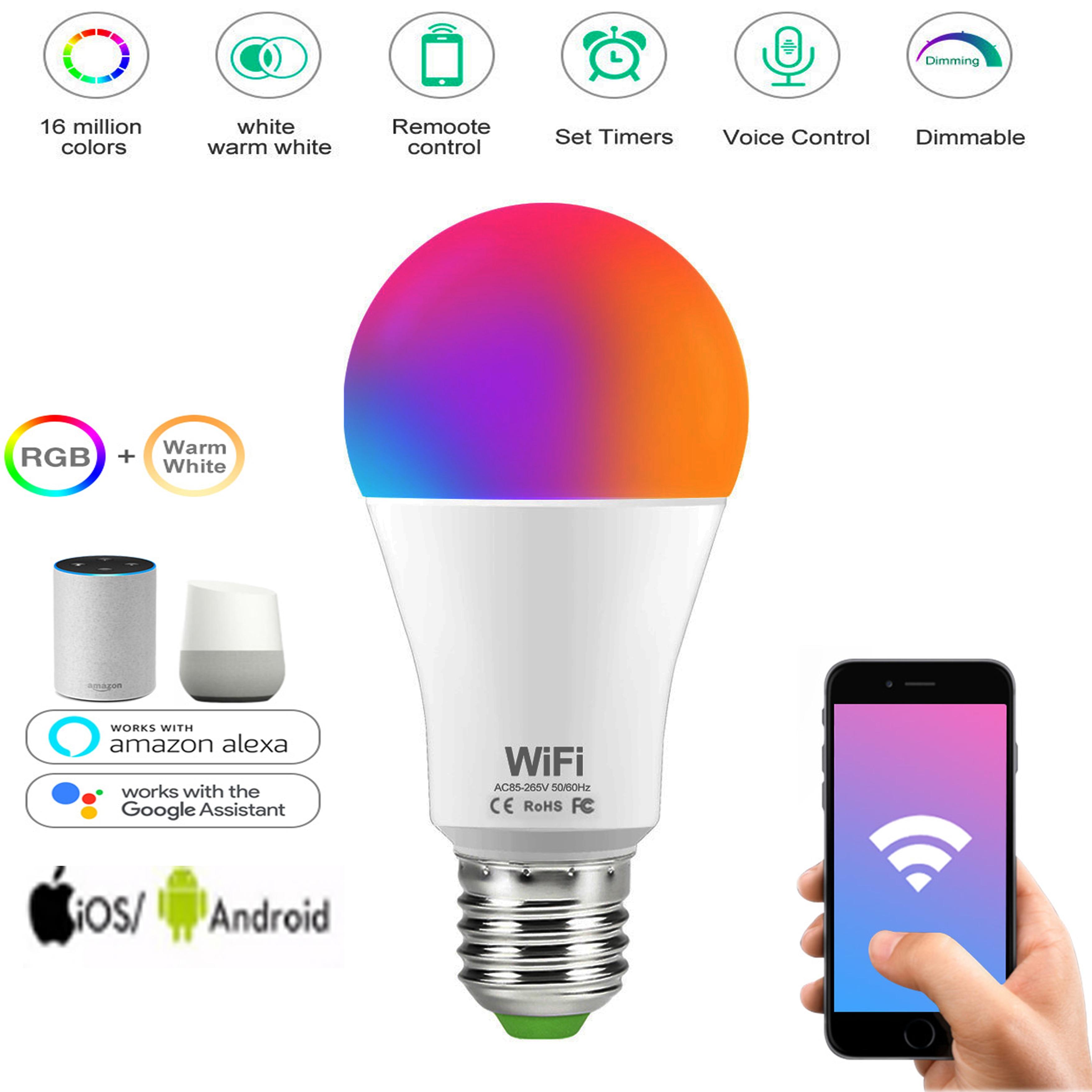CCT Smart Gl/ühbirne Sprachsteuerung Timer-Funktion Arbeiten Sie mit Alexa Google Home yifan 15 W WiFi Smart Gl/ühbirne E27 B22 Dimmbare RGB