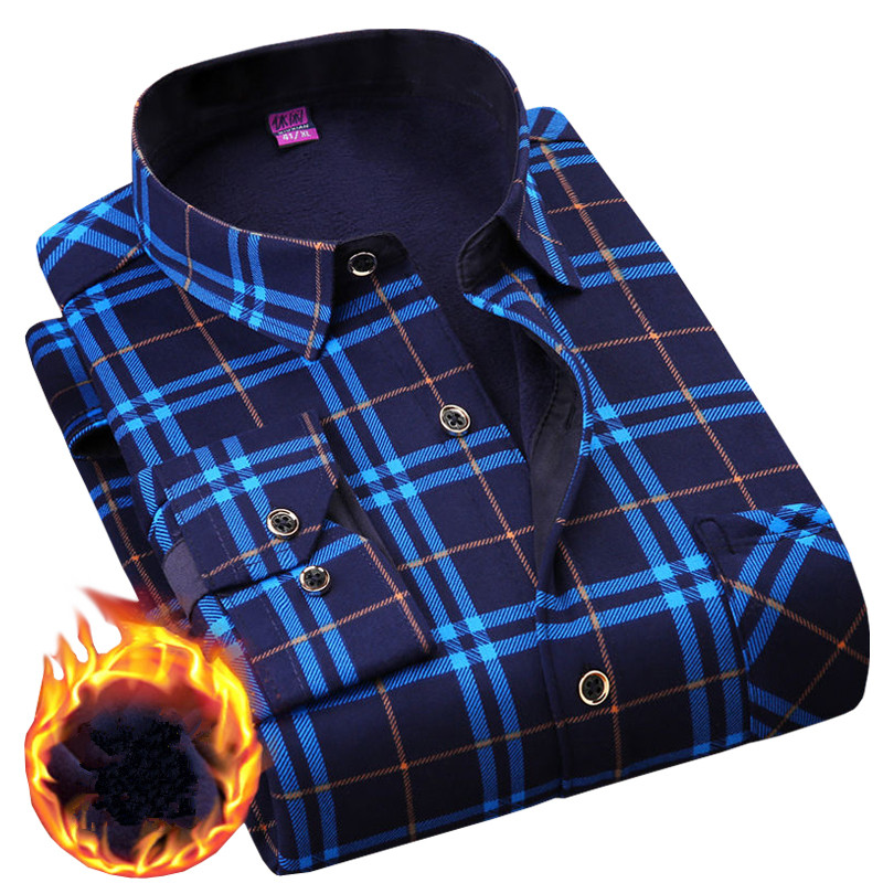 Plus 5XL 6XL <font><b>Winter</b></font> Thicking <font><b>Warm</b></font> <font><b>Men</b></font> <font><b>Shirt</b></font> 2020 Male Turn-down Business Casual Flannel Velvet Long Sleeve Plaid Dress <font><b>Shirts</b></font> image