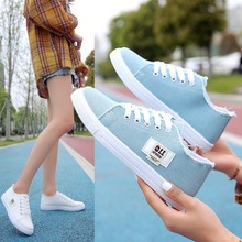 Shoes Sneakers Women's White Toe-Strap Low-Cut Canvas Round Fashion Casual