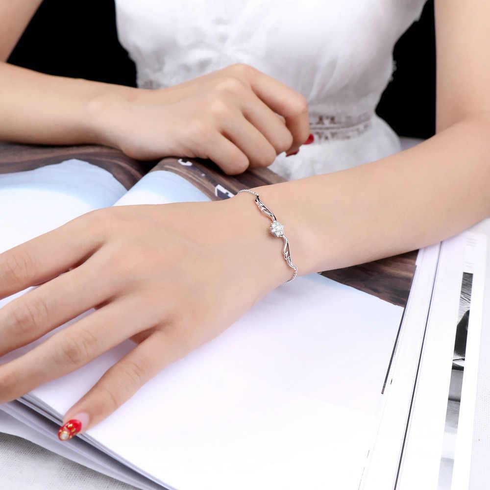 מעוקב Zirconia זווית כנפי צמידי צמידי רוז זהב כסף צבע קריסטל אופנה מותג תכשיטי חתונה לנשים H081