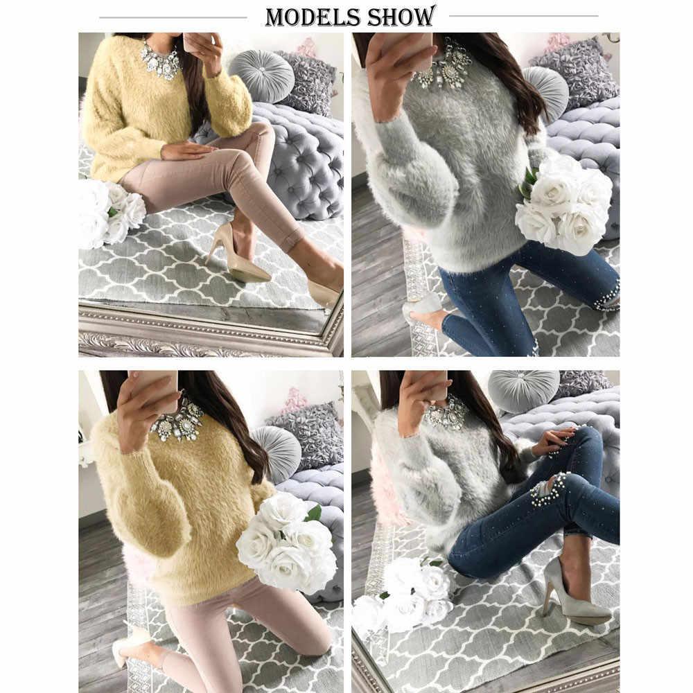 Femmes chaud hiver et automne femmes décontracté solide à manches longues pull Sweters pour les femmes Blouse hauts