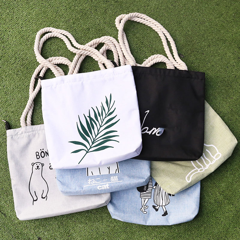 Bags For Women Canvas Tote Printed Women's Bag Casual Beach Tote Eco Shopping Bag Daily Items Collapsible Canvas Shoulder Tote