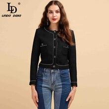 LD LINDA DELLA Fashion Runway Autumn Winter Black Jacket Women's Long Sleeve Sin