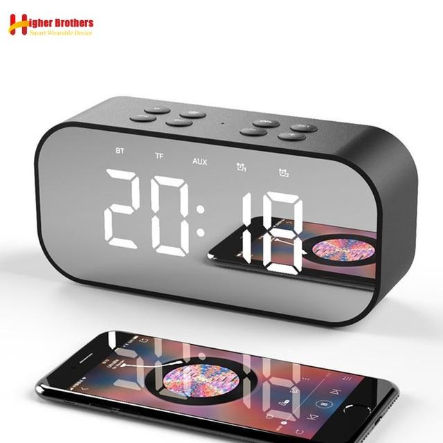블루투스 5.0 휴대용 무선 미러 스피커 열 서브 우퍼 음악 사운드 박스 LED 시간 스누즈 알람 시계 노트북 전화 번호