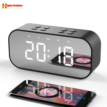 Bluetooth 5.0 Portable Wireless Mirror Speaker Column Subwoofer Music Sound Box LED Time Snooze Alarm Clock for Laptop Phone