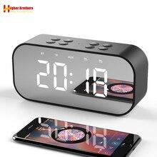 Bluetooth 5,0 Tragbare Drahtlose Spiegel Lautsprecher Spalte Subwoofer Musik Sound Box LED Zeit Snooze Wecker für Laptop Telefon