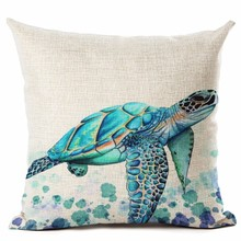 Watercolor Painting Ocean Cushion Cover Mediterranean Blue Sea Turtle Printed Linen Decorative Pillows Case Office Sofa Chiar