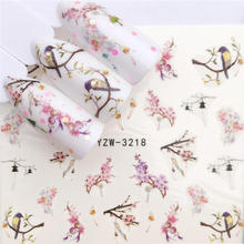 WUF  1 PC Floral Slider Water Stickers Decal For Nail Art Transfer Tattoo  Gel Manicure Adhesive Decorations Tip