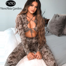 NewAsia Drucken Aushöhlen Sexy 2 Stück Set Frauen Elastische Passenden Set Spitze Up Crop Top Lange Hose Set Club outfits Langarm Set(China)