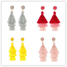 Europe and the United States ExplosionsHigh-end Fashion Bohemia Three-layer Tassel Earrings Simple Temperament Exaggerated Earr