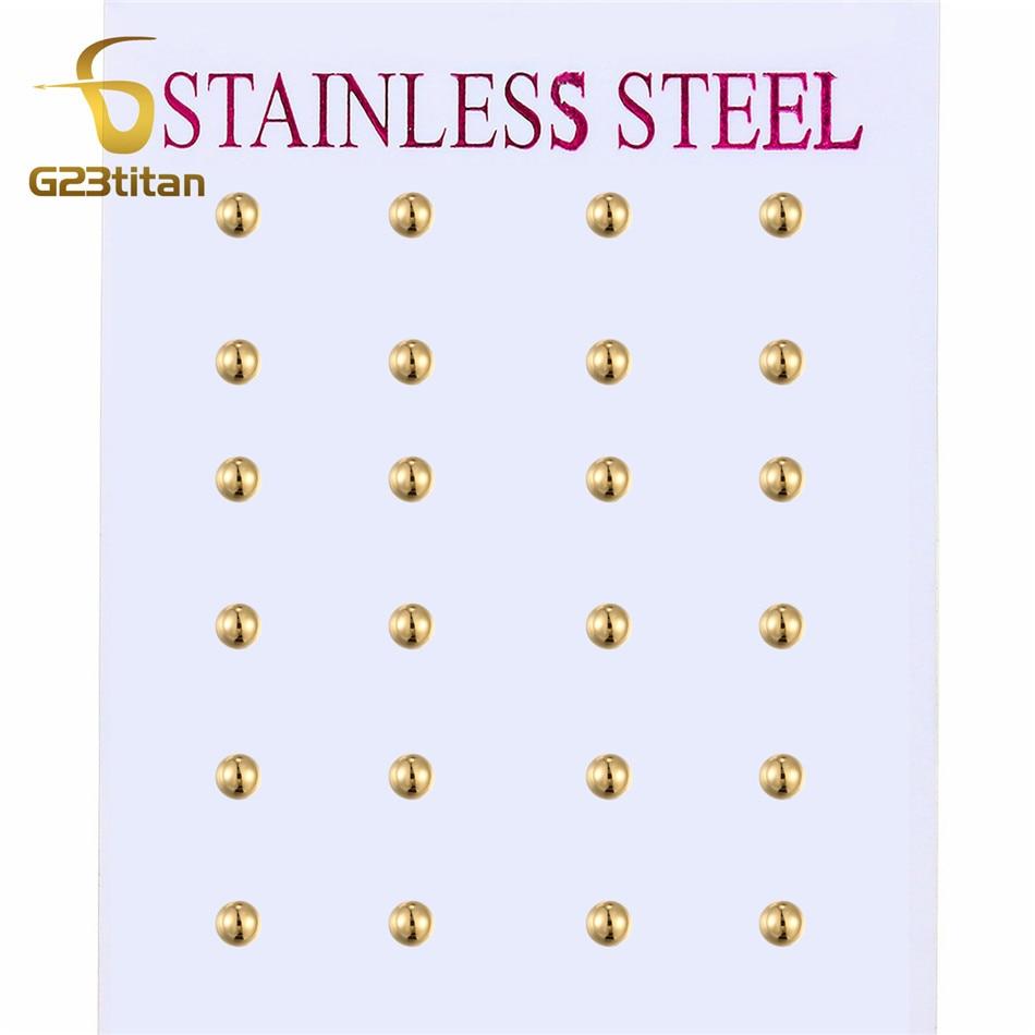 Classic 2-8mm Ball Earring Men Women Girls Stainless Steel Jewelry Small Big Gold Stud Earrings Set Wholesale